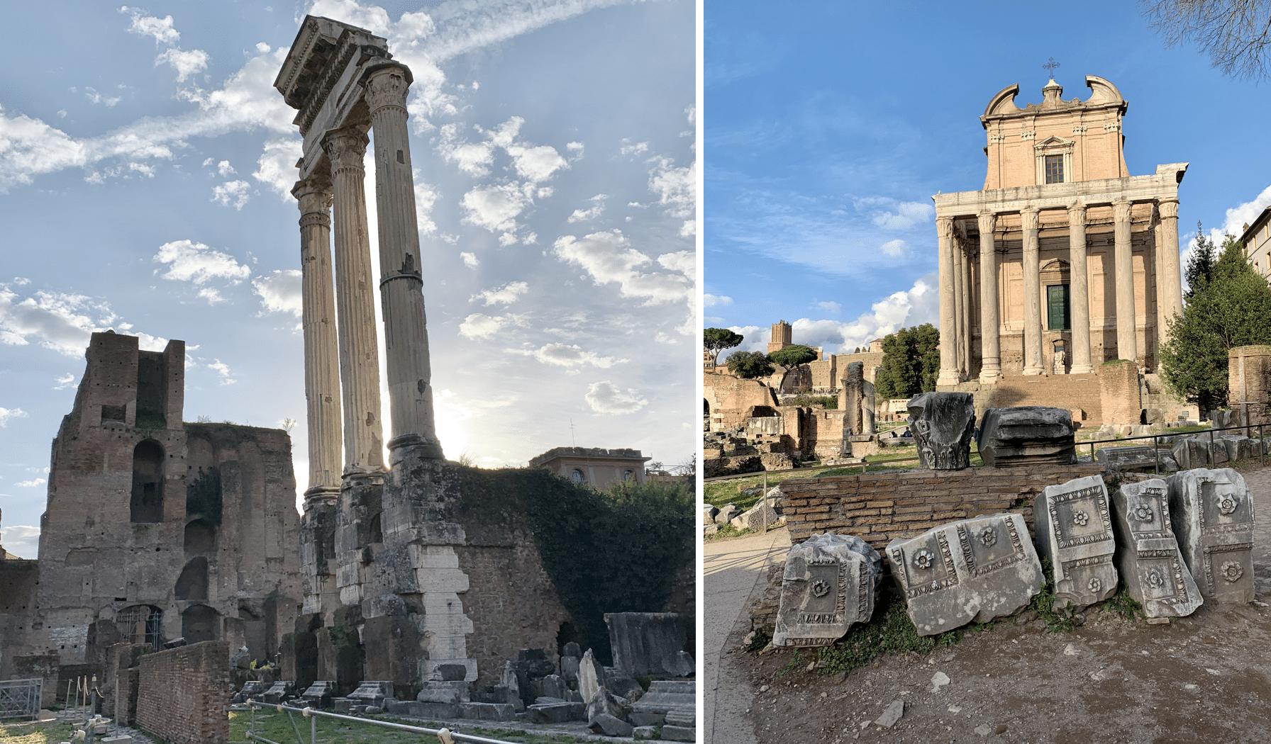 temple de castor et pollux et temple d'antonin et faustine